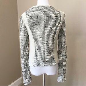 DREW Jackets & Coats - Drew Cream Black Knit Moto Zip Jacket Blazer